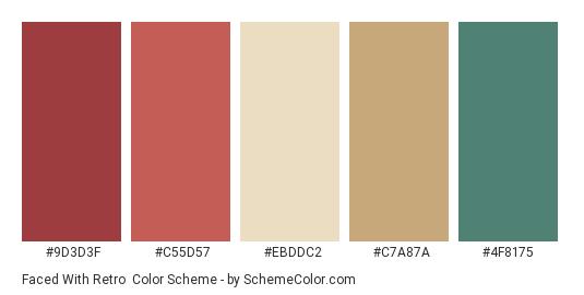 Faced with Retro - Color scheme palette thumbnail - #9D3D3F #C55D57 #EBDDC2 #C7A87A #4F8175
