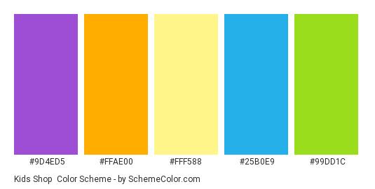 Kids Shop - Color scheme palette thumbnail - #9D4ED5 #FFAE00 #FFF588 #25B0E9 #99DD1C