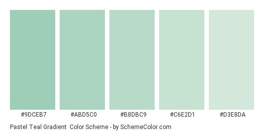 Pastel Teal Gradient - Color scheme palette thumbnail - #9DCEB7 #ABD5C0 #B8DBC9 #C6E2D1 #D3E8DA