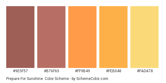 Prepare for Sunshine - Color scheme palette thumbnail - #9E5F57 #B76F65 #FF9B49 #FEB048 #FADA78