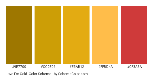 Love for Gold - Color scheme palette thumbnail - #9E7700 #CC9E06 #E3AB12 #FFBD4A #CF3A3A