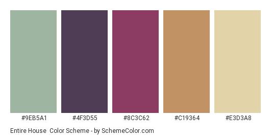 Entire House - Color scheme palette thumbnail - #9EB5A1 #4F3D55 #8C3C62 #C19364 #E3D3A8