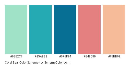 Coral Sea - Color scheme palette thumbnail - #9EE2C7 #25A9B2 #076F94 #E48080 #F6BB99