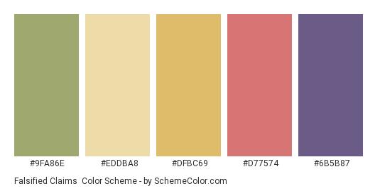 Falsified Claims - Color scheme palette thumbnail - #9FA86E #EDDBA8 #DFBC69 #D77574 #6B5B87