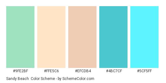 Sandy Beach - Color scheme palette thumbnail - #9FE2BF #FFE5C6 #EFCDB4 #4BC7CF #5CF5FF