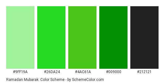 Ramadan Mubarak - Color scheme palette thumbnail - #9FF19A #26DA24 #4AC61A #009000 #212121