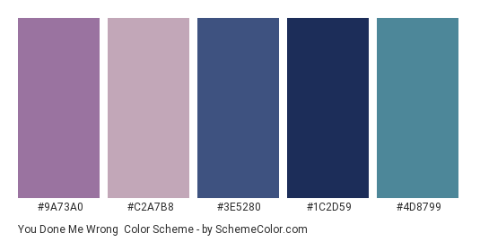 You Done Me Wrong - Color scheme palette thumbnail - #9a73a0 #c2a7b8 #3e5280 #1c2d59 #4d8799