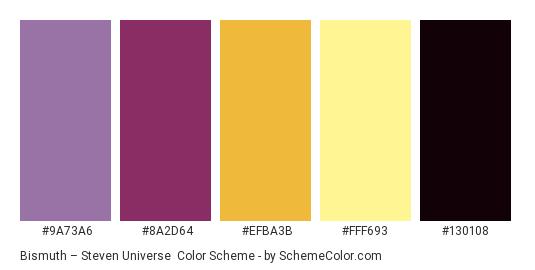Bismuth – Steven Universe - Color scheme palette thumbnail - #9a73a6 #8a2d64 #efba3b #fff693 #130108
