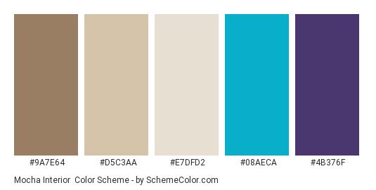 Mocha Interior - Color scheme palette thumbnail - #9a7e64 #d5c3aa #e7dfd2 #08aeca #4b376f