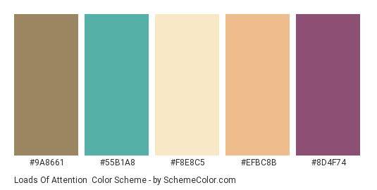 Loads of Attention - Color scheme palette thumbnail - #9a8661 #55b1a8 #f8e8c5 #efbc8b #8d4f74