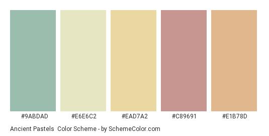 Ancient Pastels - Color scheme palette thumbnail - #9abdad #e6e6c2 #ead7a2 #c89691 #e1b78d