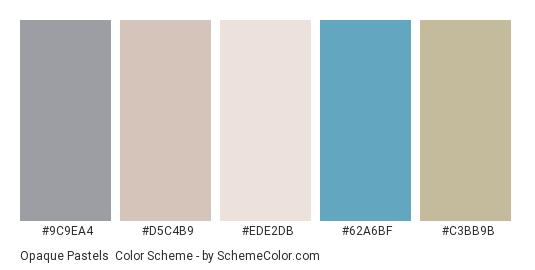 Opaque Pastels - Color scheme palette thumbnail - #9c9ea4 #d5c4b9 #ede2db #62a6bf #c3bb9b