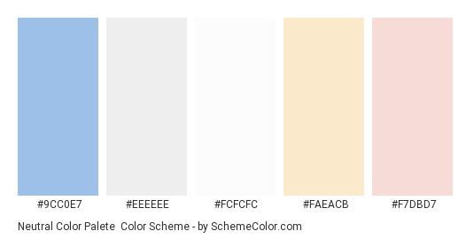 Neutral Color Palete - Color scheme palette thumbnail - #9cc0e7 #eeeeee #fcfcfc #faeacb #f7dbd7