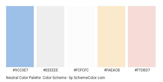 Neutral Color Palette - Color scheme palette thumbnail - #9cc0e7 #eeeeee #fcfcfc #faeacb #f7dbd7
