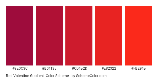 Red Valentine Gradient - Color scheme palette thumbnail - #9e0c3c #b01135 #cd1b2d #e82322 #fb291b