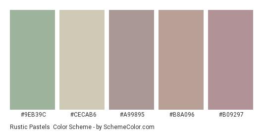 Rustic Pastels - Color scheme palette thumbnail - #9eb39c #cecab6 #a99895 #b8a096 #b09297