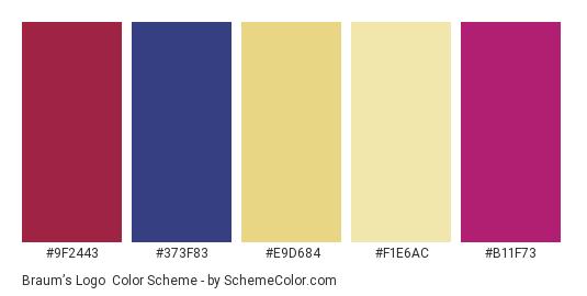 Braum's Logo - Color scheme palette thumbnail - #9f2443 #373f83 #e9d684 #f1e6ac #b11f73