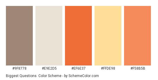 Biggest Questions - Color scheme palette thumbnail - #9f8778 #e9e2d5 #ef6e37 #ffde98 #f58b5b