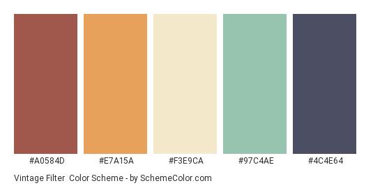 Vintage Filter - Color scheme palette thumbnail - #A0584D #E7A15A #F3E9CA #97C4AE #4C4E64
