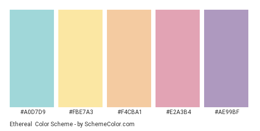 Ethereal - Color scheme palette thumbnail - #A0D7D9 #FBE7A3 #F4CBA1 #E2A3B4 #AE99BF