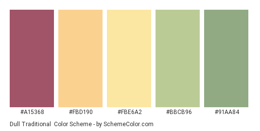 Dull Traditional - Color scheme palette thumbnail - #A15368 #FBD190 #FBE6A2 #BBCB96 #91AA84