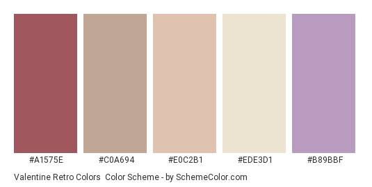 Valentine Retro Colors - Color scheme palette thumbnail - #A1575E #C0A694 #E0C2B1 #EDE3D1 #B89BBF