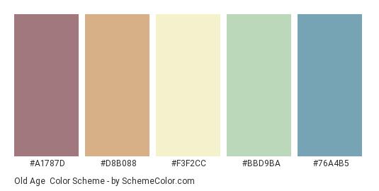 Old Age - Color scheme palette thumbnail - #A1787D #D8B088 #F3F2CC #BBD9BA #76A4B5
