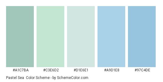 Pastel Sea - Color scheme palette thumbnail - #A1C7BA #C3E6D2 #D1E6E1 #A9D1E8 #97C4DE