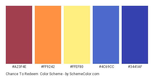 Chance to Redeem - Color scheme palette thumbnail - #A23F4E #FF9242 #FFEF80 #4C69CC #3441AF