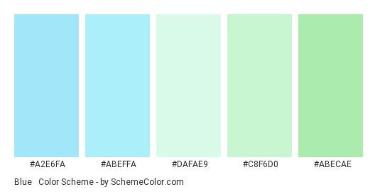Blue & Green Light Pastels - Color scheme palette thumbnail - #A2E6FA #ABEFFA #DAFAE9 #C8F6D0 #ABECAE