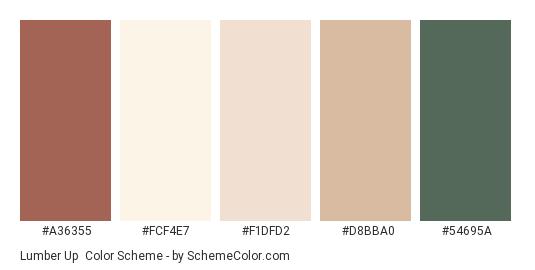 Lumber Up - Color scheme palette thumbnail - #A36355 #FCF4E7 #F1DFD2 #D8BBA0 #54695A
