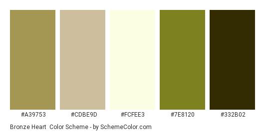Bronze Heart - Color scheme palette thumbnail - #A39753 #CDBE9D #FCFEE3 #7E8120 #332B02