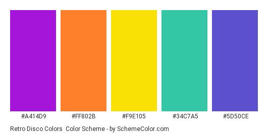 Retro Disco Colors - Color scheme palette thumbnail - #A414D9 #FF802B #F9E105 #34C7A5 #5D50CE