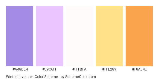 Winter Lavender - Color scheme palette thumbnail - #A48BE4 #E9C6FF #FFFBFA #FFE289 #F8A54E