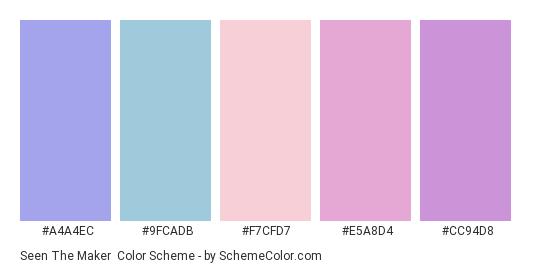Seen the Maker - Color scheme palette thumbnail - #A4A4EC #9fcadb #f7cfd7 #E5A8D4 #CC94D8