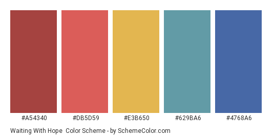 Waiting with Hope - Color scheme palette thumbnail - #A54340 #DB5D59 #E3B650 #629BA6 #4768A6