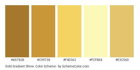 Gold Gradient Shine - Color scheme palette thumbnail - #A5782B #C99738 #F4D362 #FCF8B8 #E3C56D