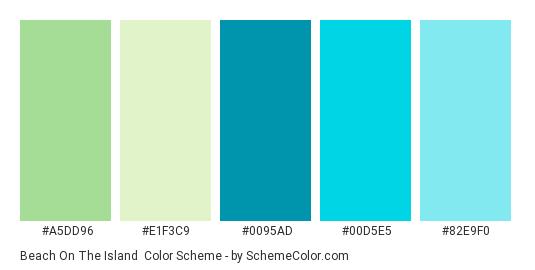 Beach On The Island - Color scheme palette thumbnail - #A5DD96 #E1F3C9 #0095AD #00D5E5 #82E9F0