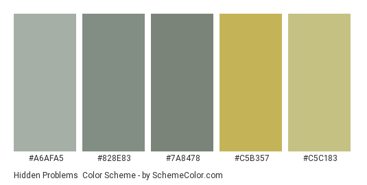 Hidden Problems - Color scheme palette thumbnail - #A6AFA5 #828E83 #7A8478 #C5B357 #C5C183