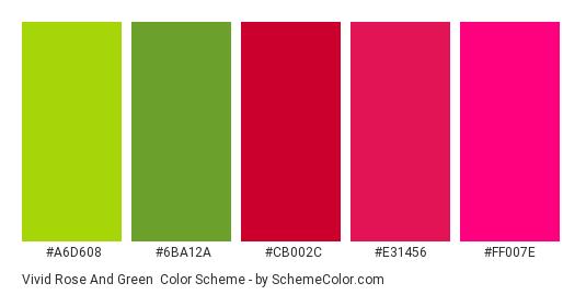Vivid Rose and Green - Color scheme palette thumbnail - #A6D608 #6BA12A #cb002c #e31456 #ff007e