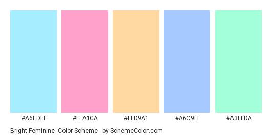 Bright Feminine - Color scheme palette thumbnail - #A6EDFF #FFA1CA #FFD9A1 #A6C9FF #A3FFDA
