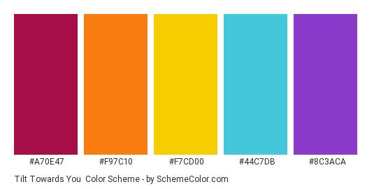Tilt Towards You - Color scheme palette thumbnail - #A70E47 #F97C10 #F7CD00 #44C7DB #8C3ACA