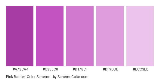 Pink Barrier - Color scheme palette thumbnail - #A73CA4 #C353C0 #D178CF #DF9DDD #ECC3EB