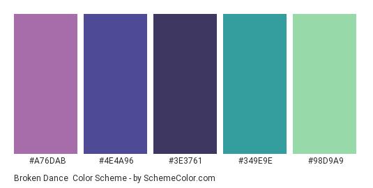 Broken Dance - Color scheme palette thumbnail - #A76DAB #4E4A96 #3E3761 #349E9E #98D9A9