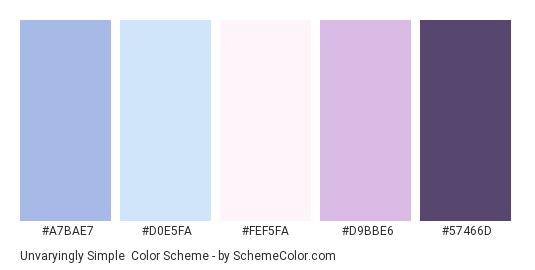 Unvaryingly Simple - Color scheme palette thumbnail - #A7BAE7 #D0E5FA #FEF5FA #D9BBE6 #57466D