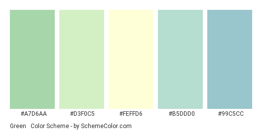 Green & Cream Baby Shower - Color scheme palette thumbnail - #A7D6AA #D3F0C5 #FEFFD6 #B5DDD0 #99C5CC