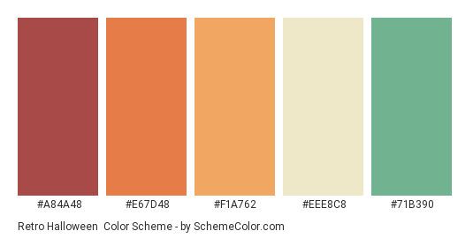 Retro Halloween - Color scheme palette thumbnail - #A84A48 #E67D48 #F1A762 #EEE8C8 #71B390