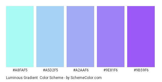 Luminous Gradient - Color scheme palette thumbnail - #A8FAF5 #A5D2F5 #A2AAF6 #9E81F6 #9B59F6