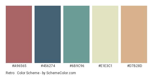 Retro & Vintage - Color scheme palette thumbnail - #A96565 #456274 #6B9C96 #E1E3C1 #D7B28D