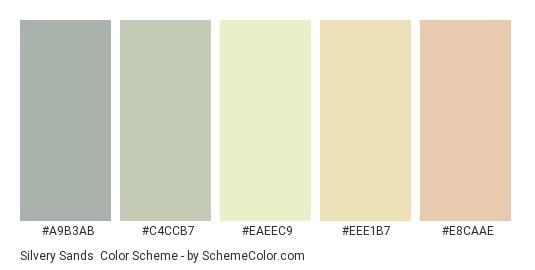 Silvery Sands - Color scheme palette thumbnail - #A9B3AB #C4CCB7 #EAEEC9 #EEE1B7 #E8CAAE